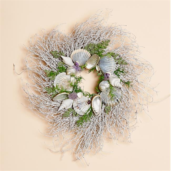 Harvest of Barnstable NFWW14 14 inch White Twig Wreath With Native Scallop Shells And Lavender Moss Nantucket Fog