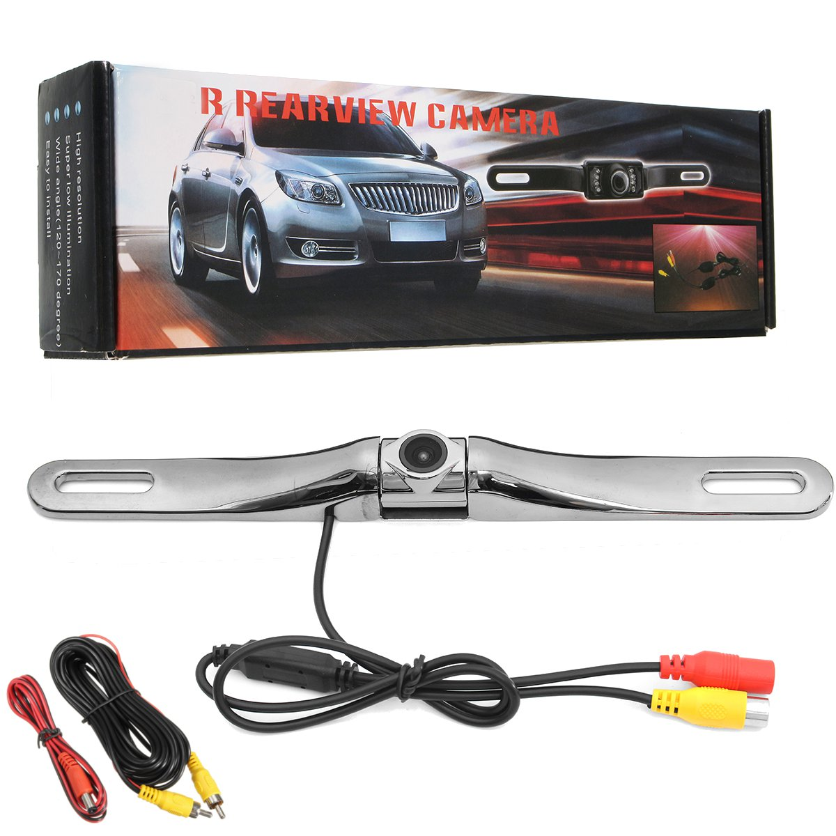 170° Night Vision Car License Plate Rear View Camera Built-in Distance Scale Lines Backup Parking/Reverse Assist Waterproof Zinc Metal Chrome