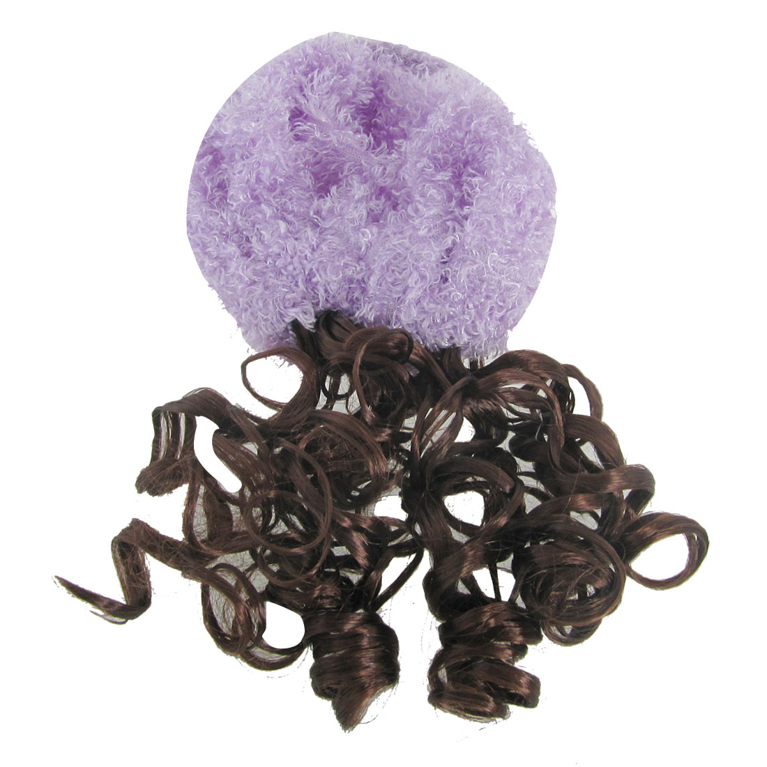 Purple Cap Hat Curly Wig Hairpiece Head Ornament for Girls