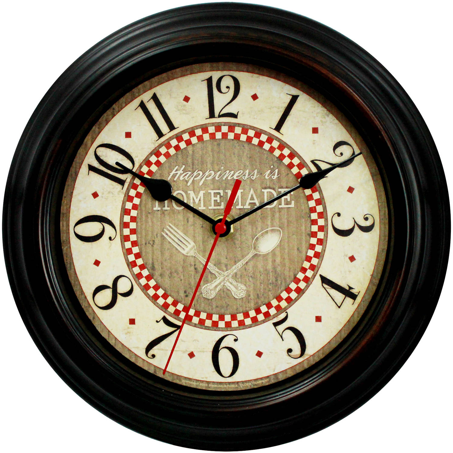 country kitchen wall clocks mainstays ms country kitchen clock walmart 6167