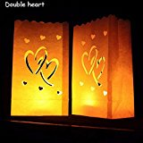 Luminary Paper Lantern Candle Bag Flame Retardant Paper Bag for Party Double Heart - Paper Luminaries