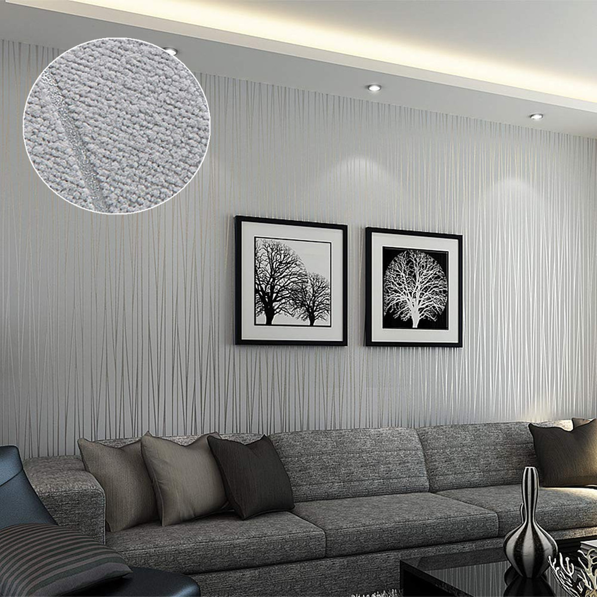(1.75 x 33 FT ) Paintable Prepasted 3D Non-Woven Modern Wallpaper Stripes Damask Textured Embossed Flocking Classic Plain Stripe Wallpaper Roll For Livingroom Bedroom Removable