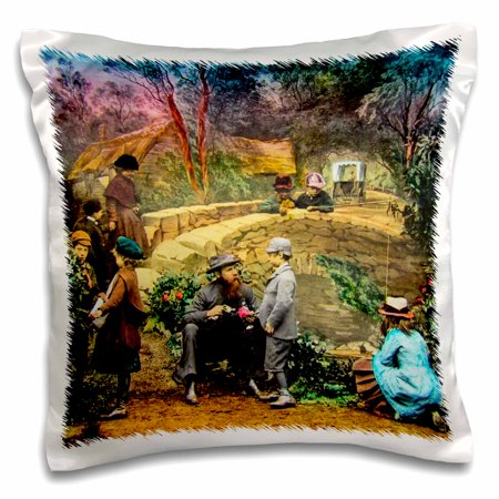 1890 Victorian Antique - 3dRose Victorian Tale Vintage Billys Rose No. 6 1890 Magic Lantern Slide - Pillow Case, 16 by 16-inch