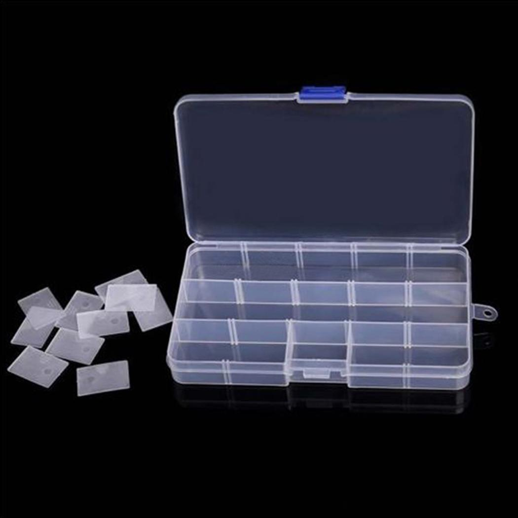 Transparent 15 Slots Organizer Fishing Lure Box Adjustable Plastic Hook Tackle Box Storage Case Organizer Caroj - image 4 de 7