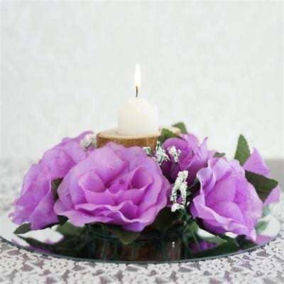 8 PCS Candle Rings Wedding Flower Rose Tabletop Centerpieces Gift - Lavender - Lavender Centerpieces