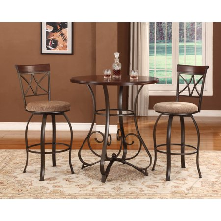 Powell 3 Piece Hamilton Pub Set, Cherry (Table and 2 Swivel Bar (5 Piece Transparent Cherry)