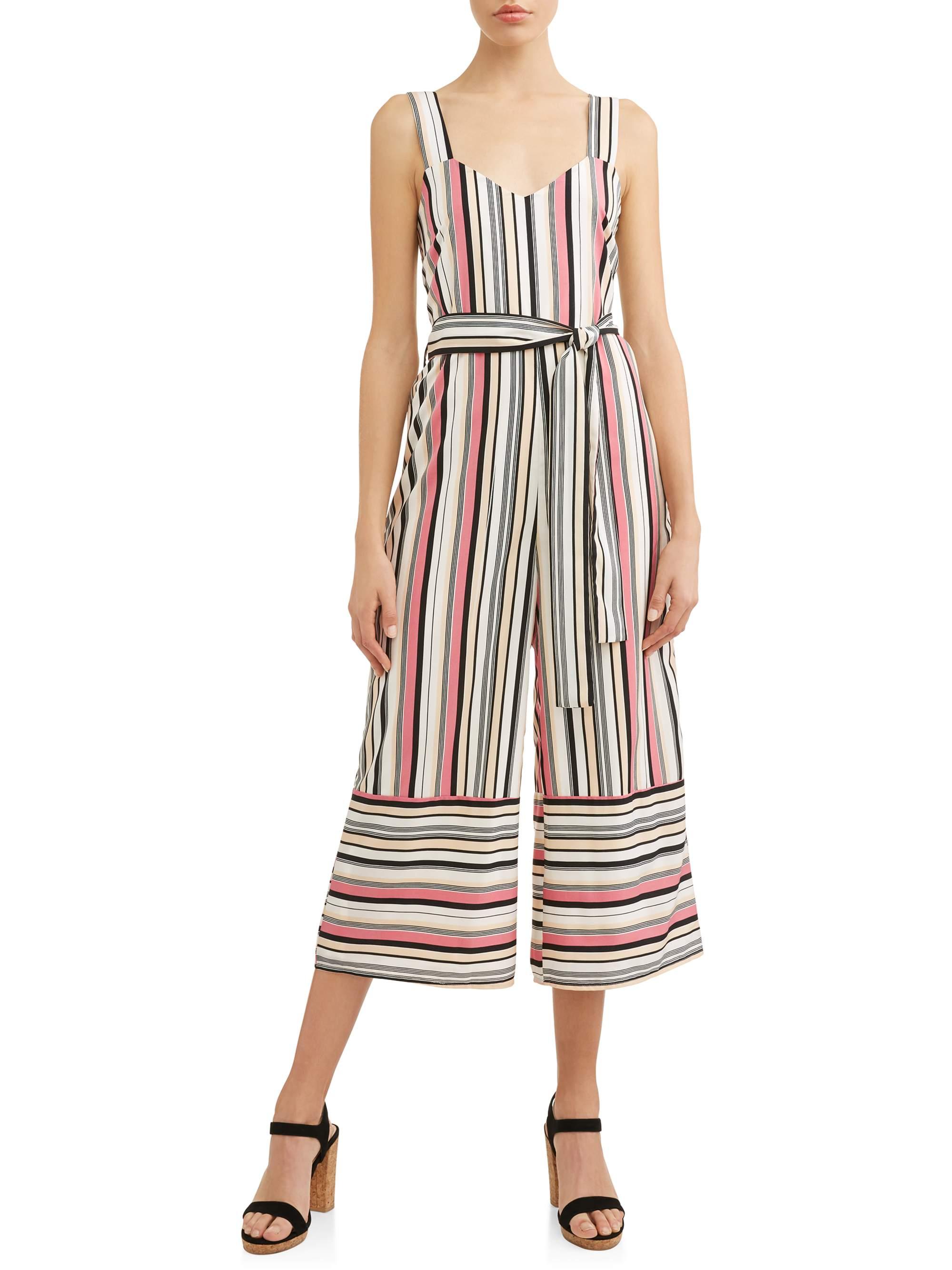 Women's Stripe Wide Leg Jumpsuit