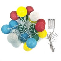 ALEKO B20LEDCOBALLWH Battery Operated Flashing Lights - 20 LED - 7 Feet - Multi-Colored Cotton Balls