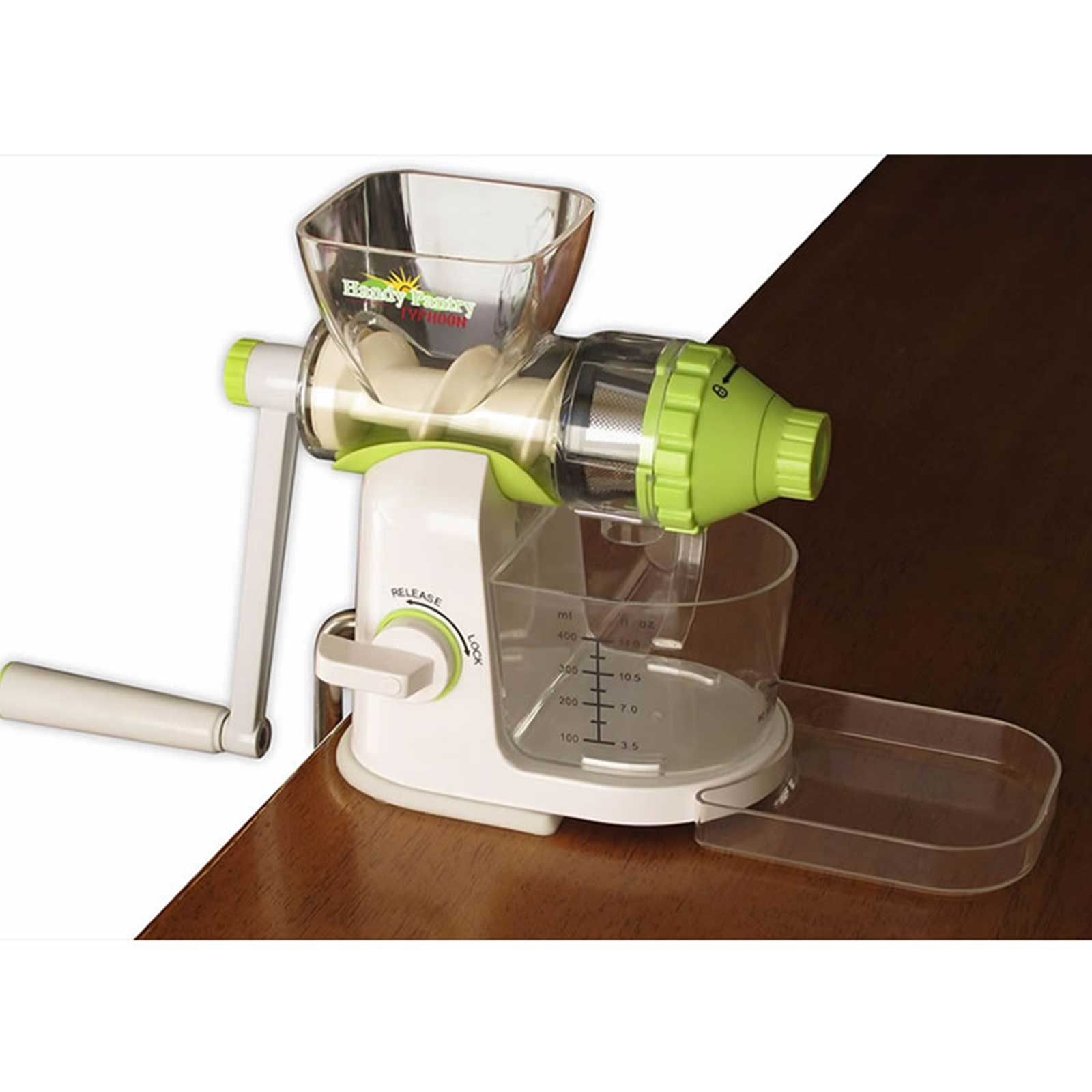 Typhoon Manual Wheatgrass Juicer - Hand Crank Wheat Grass, Fruit & Vegetable Juice Extractor