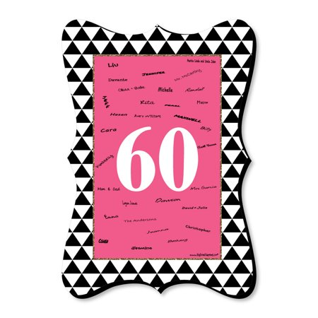 Chic 60th Birthday - Pink, Black and Gold - Unique Alternative Guest Book - Birthday Party Signature Mat](Chica Birthday Party Supplies)