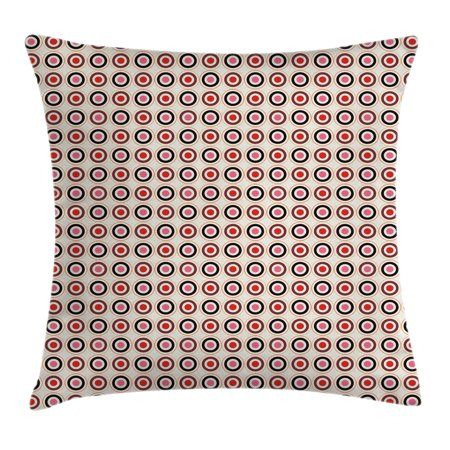 Retro Throw Pillow Cushion Cover, Nostalgic Old Fashioned Polka Dots Inner Circles Colorful Geometrical Concept Artsy, Decorative Square Accent Pillow Case, 18 X 18 Inches, Multicolor, by