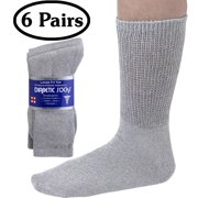 Debra Weitzner Mens Womens Diabetic Socks - Breathable Cotton - Loose Fitting Design, Comfortable, Physician Approved - Non Binding Top - Crew Grey - Size 10/13 - Pack of 6 Pairs