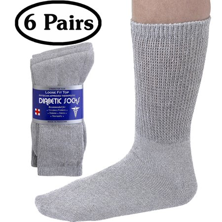 Debra Weitzner Mens Womens Diabetic Socks - Breathable Cotton - Loose Fitting Design, Comfortable, Physician Approved - Non Binding Top - Crew Grey - Size 10/13 - Pack of 6 Pairs ()