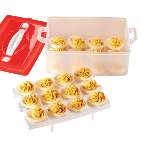 Stacked Deviled Egg Carrier - Holds 24 Eggs, Container for Easy Storage and Transportation
