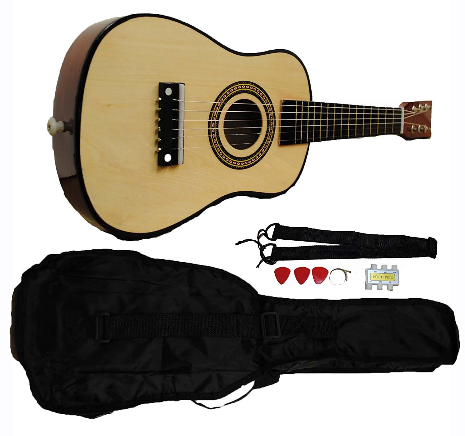 Mini Kids Acoustic Toy Guitar Kit Gig Bag + Picks + Strap + Tuner - Natural Wood