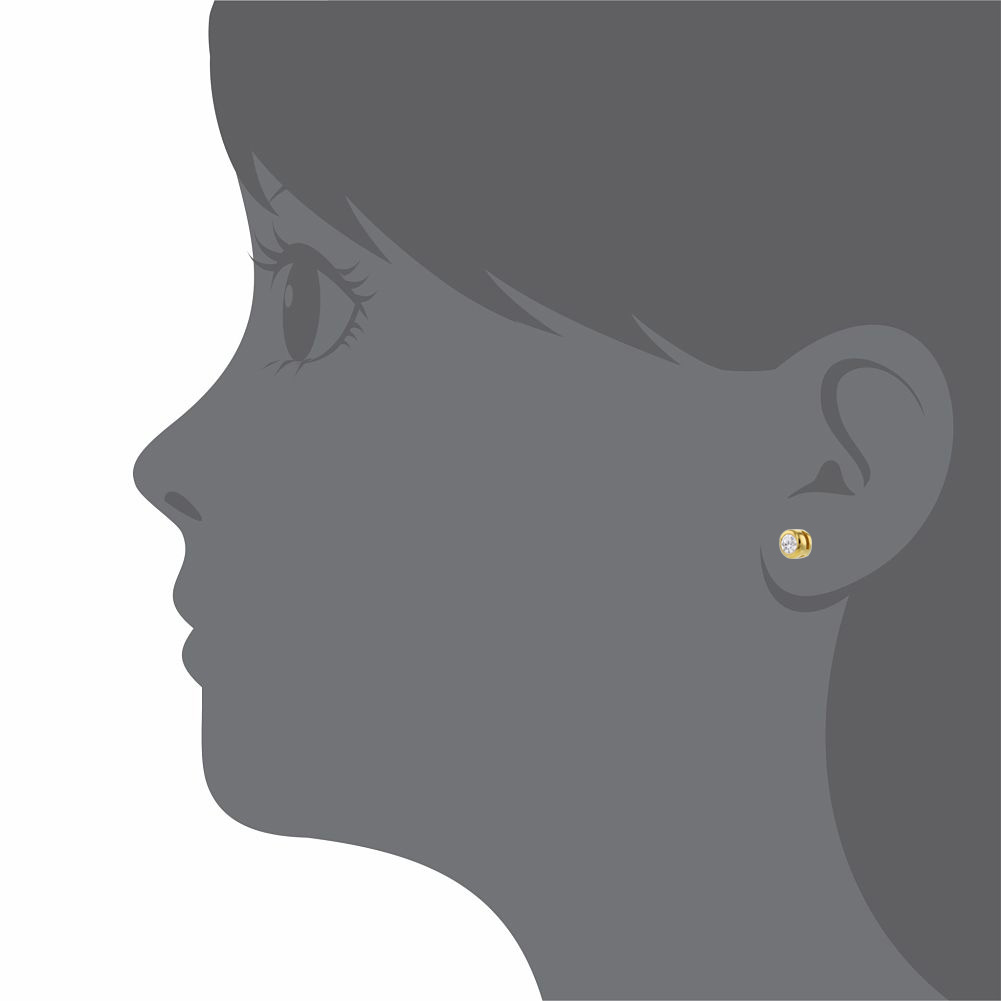 925 Sterling Silver Clear CZ Screw Back Tiny Round Baby Girl Earrings - image 3 of 4