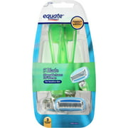 Equate Sensitive Skin 5 Blade Disposable Razors for Women, 3 count