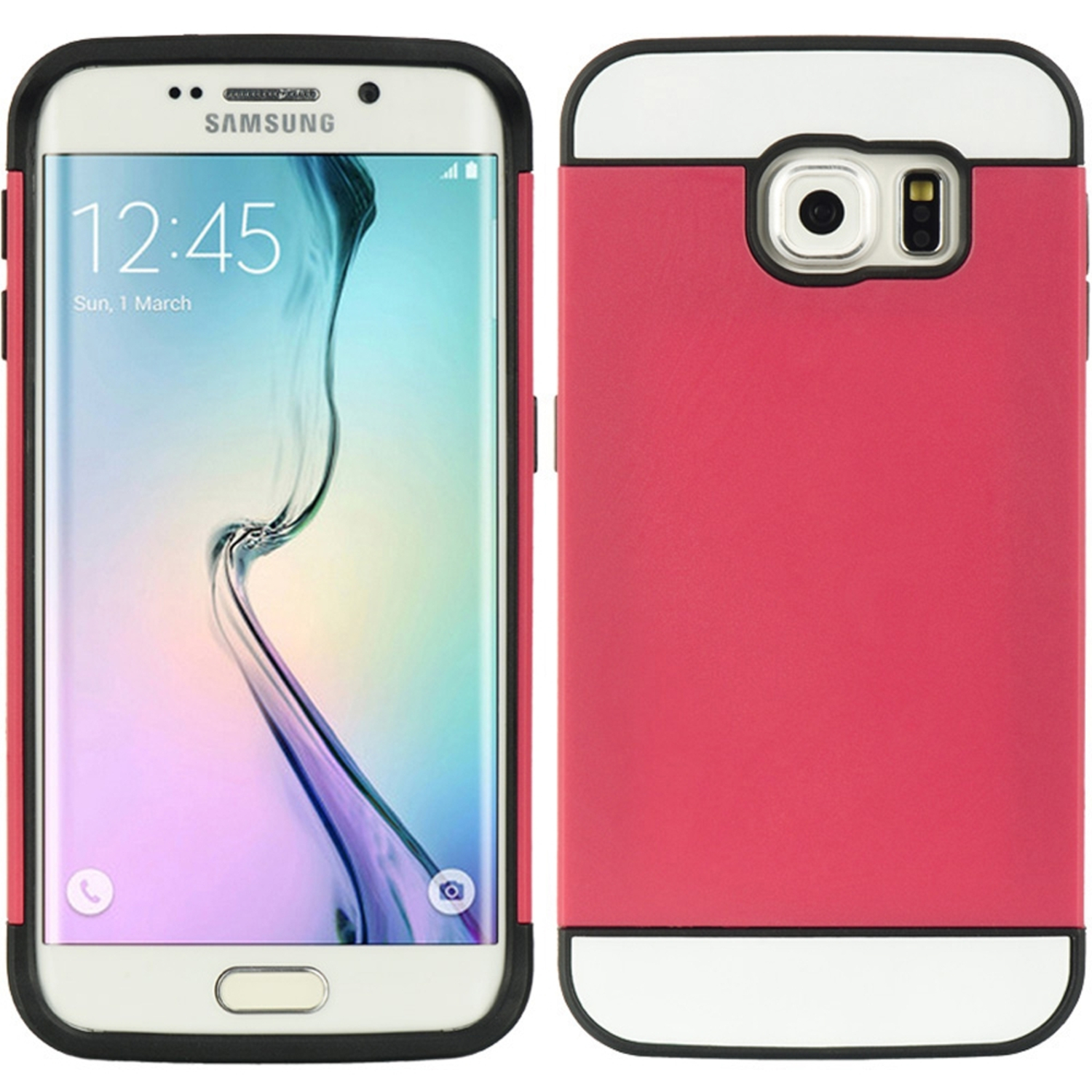 Samsung Galaxy S6 Edge Case, by Insten Hard Plastic/Soft TPU Rubber with Card Holder Slot Case Cover For Samsung Galaxy S6 Edge