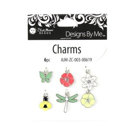 Blue Moon Beads Multi-Color Enamel Insect Flower Charms for Jewelry Making, 6 Piece
