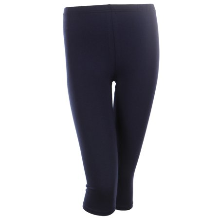 Cotton Capri Leggings Plain Pants Capris For Women Junior & PLUS Size, Navy, Small](Orange And Black Striped Leggings)