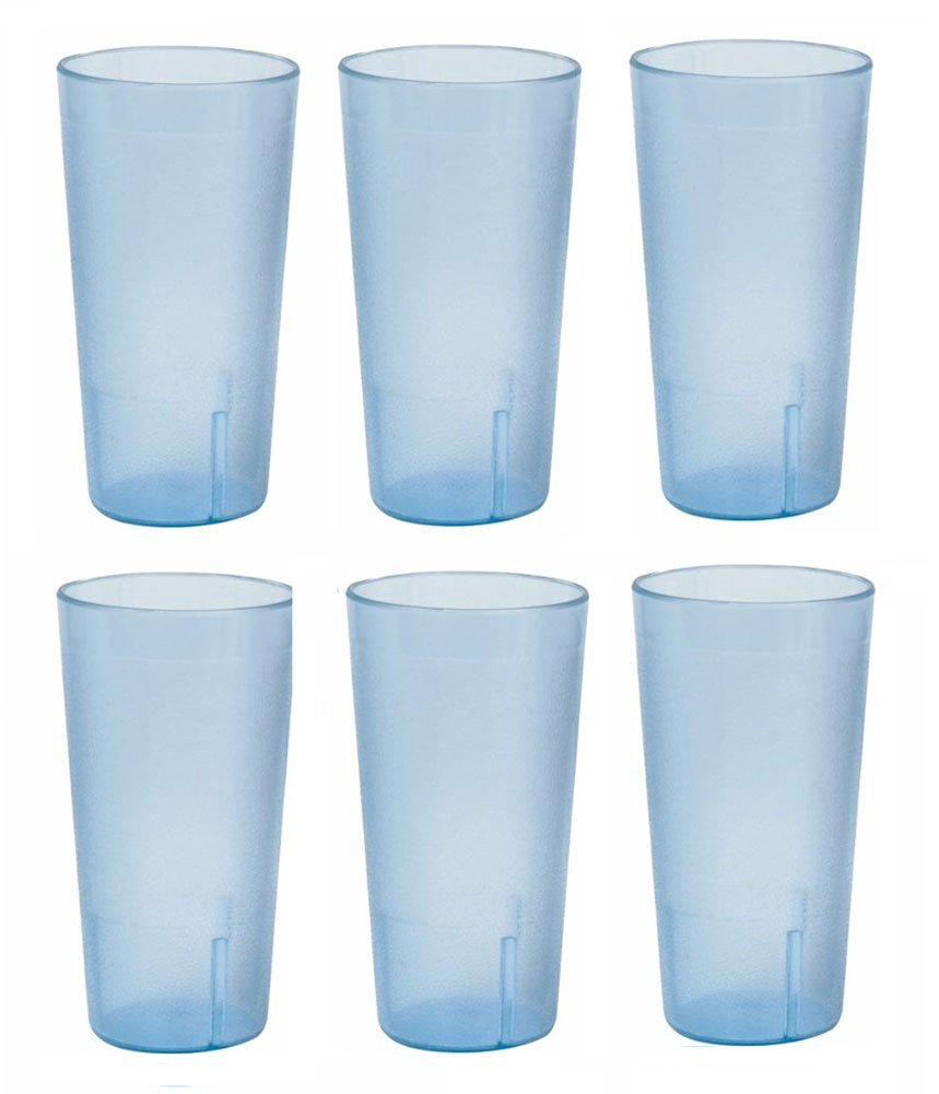 20 Ounce Restaurant Tumbler Beverage Cup, Stackable Cups, Break Resistant Commmerical Plastic, Set of Six Blue by Thunder Group