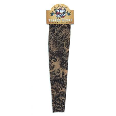 Wild Rose Unisex DRAGON Single Tattoo Mesh Sleeve Black Sea Serpents Snake, Tan - Sea Tattoo
