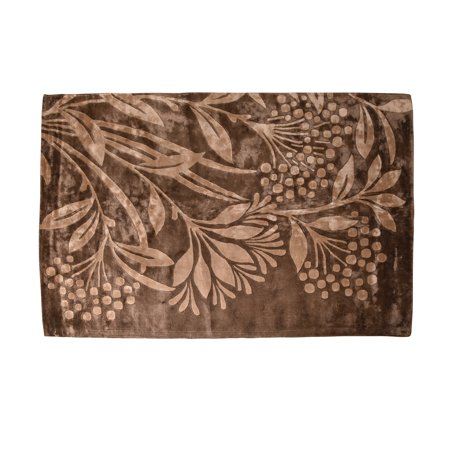 Brown & Beige Floral Hand Tufted Viscose 5x8 ft Area Rug by MystiqueDecors Contemporary Carpets Bedroom Living & Dining Room Rugs