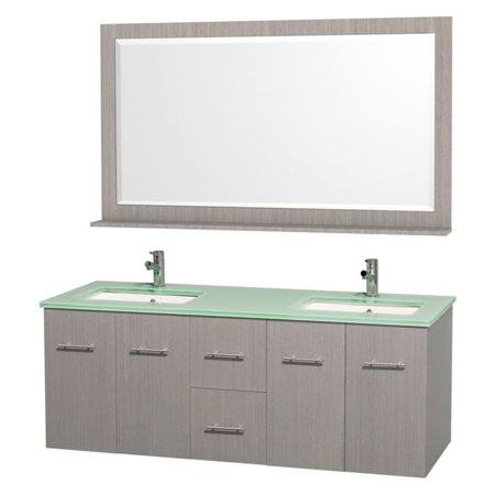 "Wyndham Collection Centra 60"" Double Bathroom Vanity, Grey Oak, Green Glass Countertop, Square Porcelain Undermount Sinks, and 58"" Mirror"