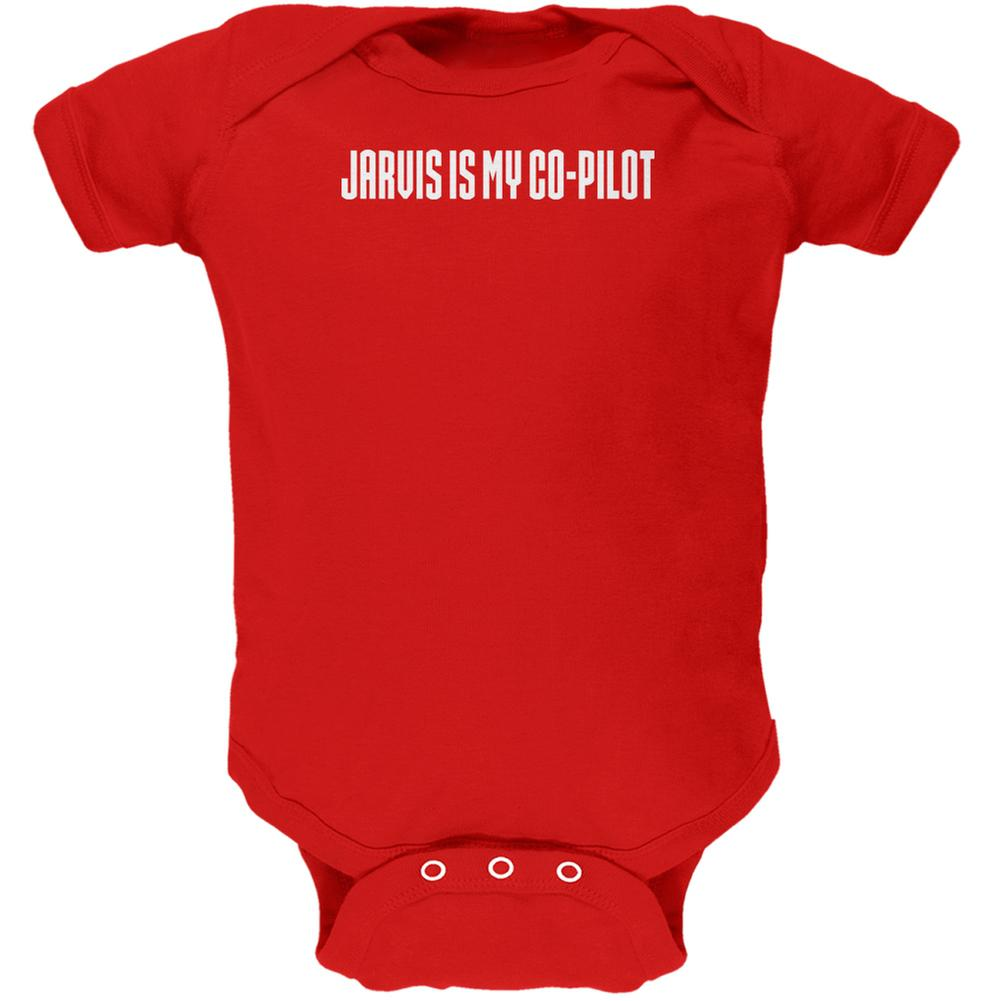 Jarvis is my Copilot Funny Red Soft Baby One Piece