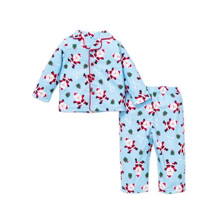 Little Me 2pc Little Boys Santa Christmas Holiday Pajamas - Blue - 2T (X-Mas) For Infant and Toddler Boys Little Me Boy and Girl Family Matching Plaid ...