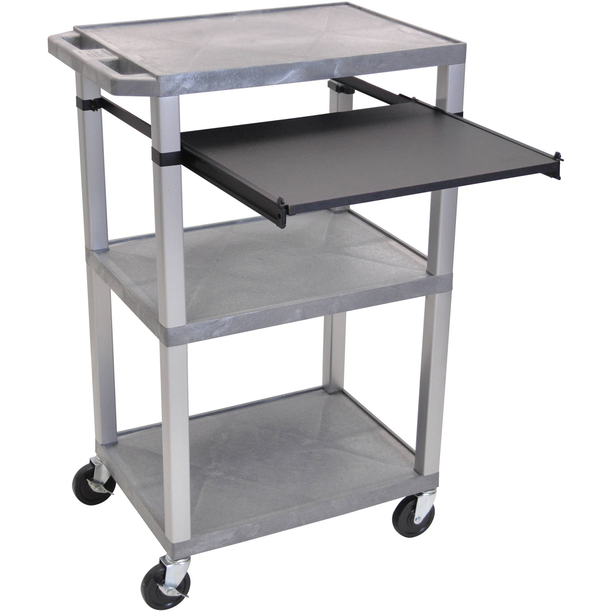 H. Wilson Tuffy 3-Shelf A/V Cart with Electric, Black Front Pullout Shelf, Gray Shelves and Nickel Legs