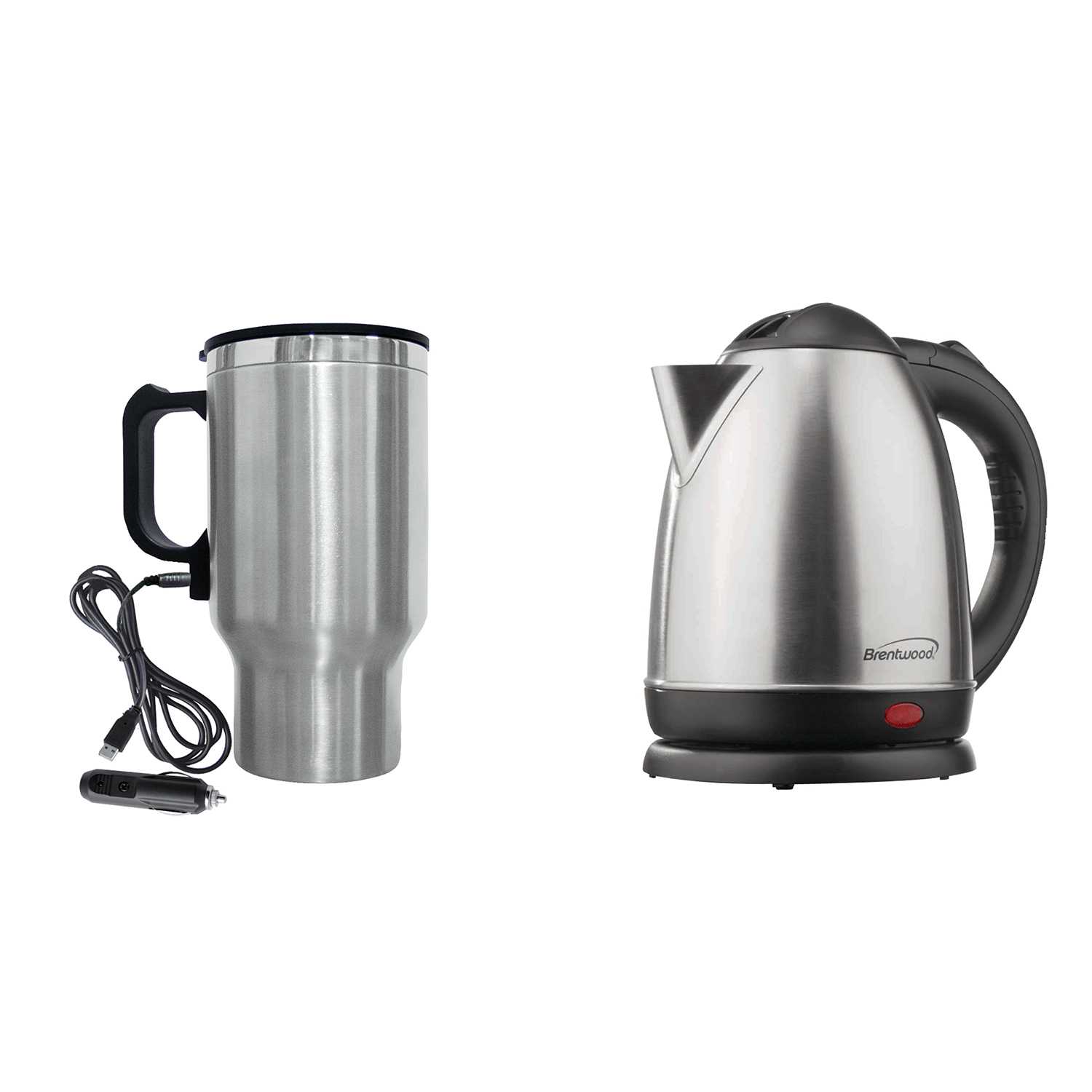 Brentwood Appliances KT-1780 1.5-Liter Stainless Steel Cordless Electric Kettle (Brushed Stainless Steel) and CMB-16C 16-Ounce Stainless Steel Heated Travel Mug with 12-Volt Car Adapter Bundle