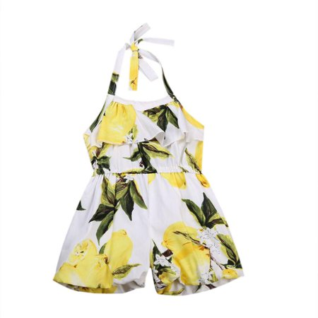 Toddler Baby Girls Halter One-piece Romper Lemon Print Sleeveless Hater Floral Jumpsuit Outfit Beachwear Clothes