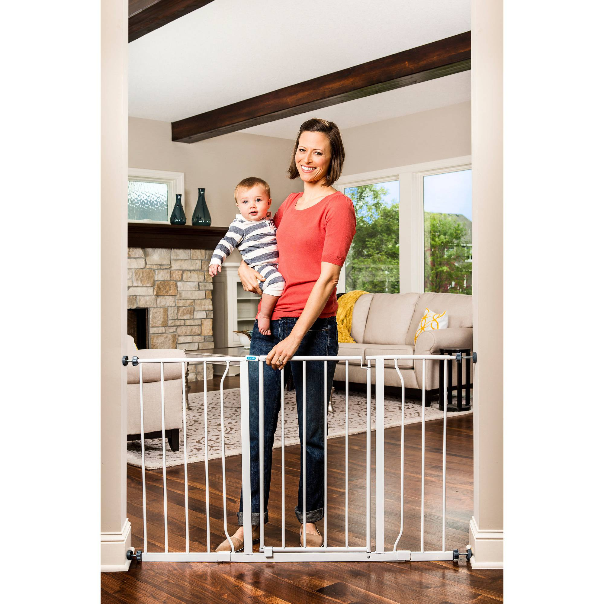 "Regalo Extra Tall Baby Gate, 29""-51"" with Walk Through Door and Extensions"