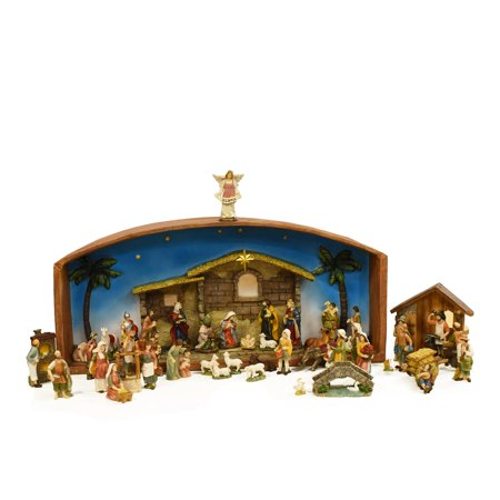 52-Piece Religious Christmas Nativity Village Set with Holy Family 31.5