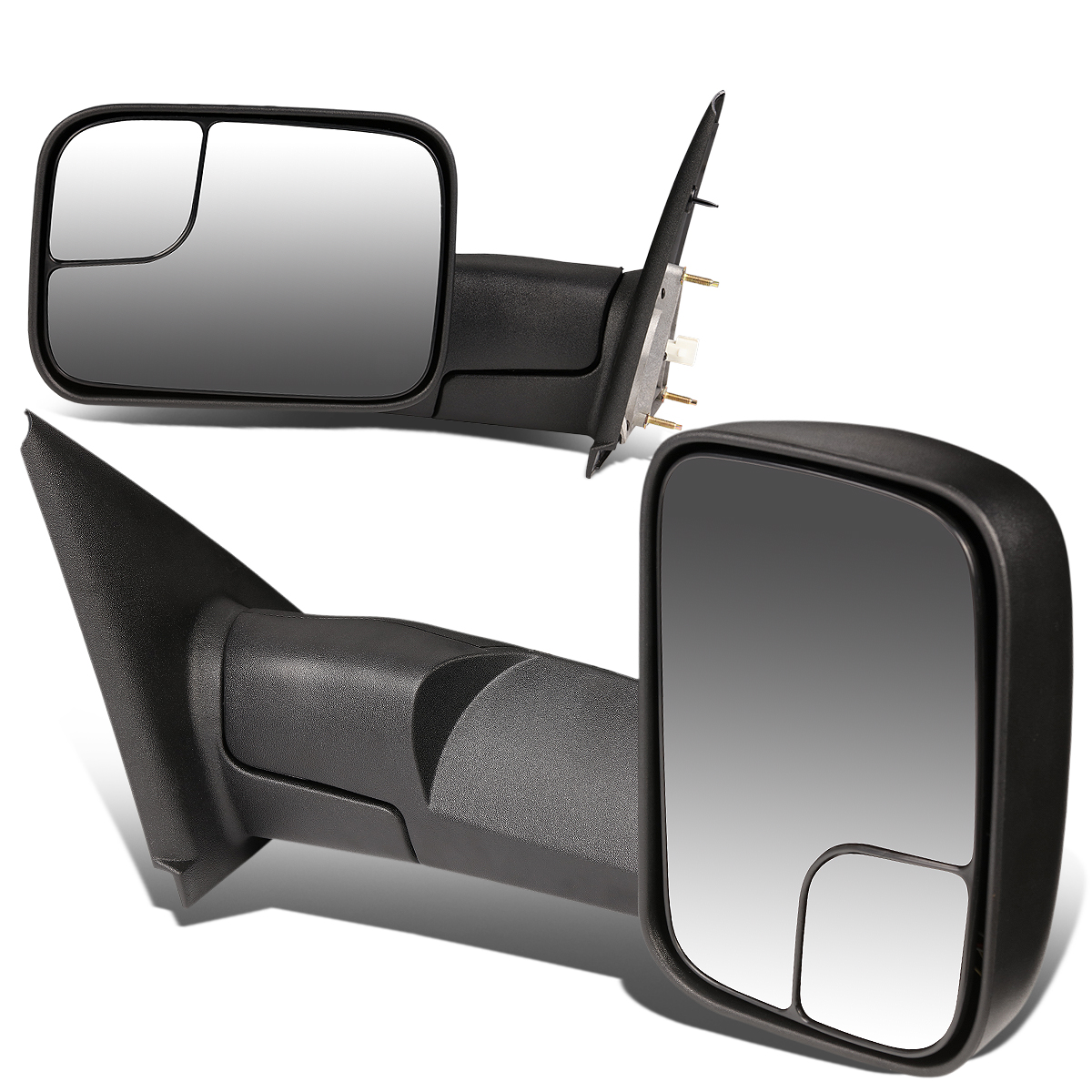 For 02-09 Ram 1500 / 2500 / 3500 Pair of Black Textured Telescoping Manual Foldable Side View Towing Mirror 05 06 07