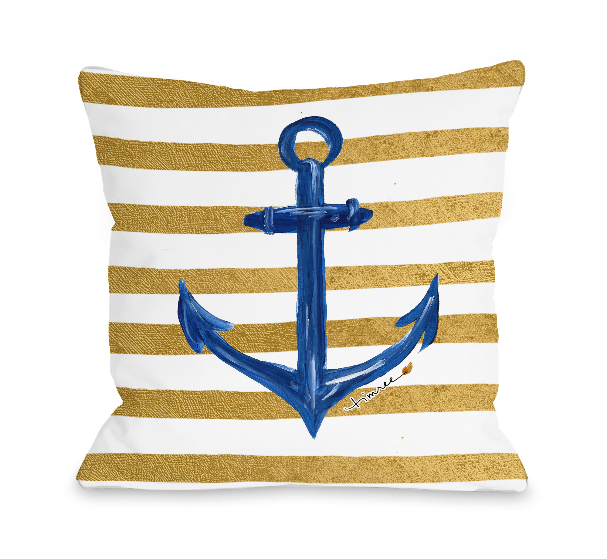 Anchor Gold Stripes - White Gold Blue 18x18 Pillow by Timree
