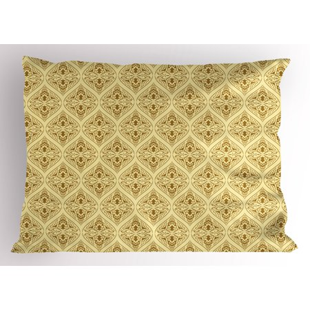 Damask Pillow Sham Victorian Vintage Royal Ornamental Tiles Middle Age Renaissance Pattern, Decorative Standard Size Printed Pillowcase, 26 X 20 Inches, Pale Yellow Amber, by Ambesonne