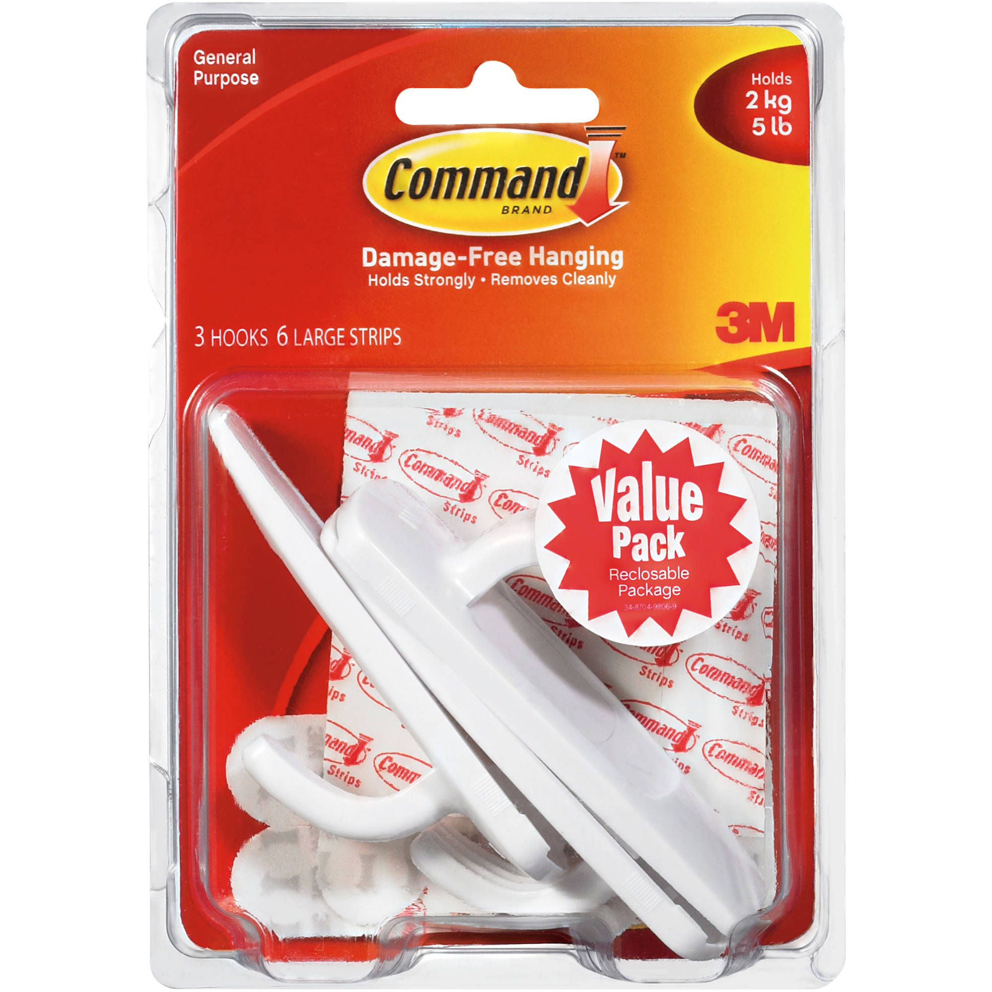 Command Large Hook Value Pack, White, 3 Hooks, 6 Strips, 17003-VP-3PK