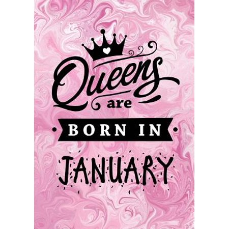Queens Are Born In January Pink Marble Journal Memory Book Birthday Present For Her