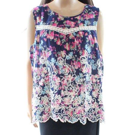 0372526a5c5 Cupio NEW Blue Floral Print Embroidered Crochet Lace Large L Top Blouse -  Walmart.com