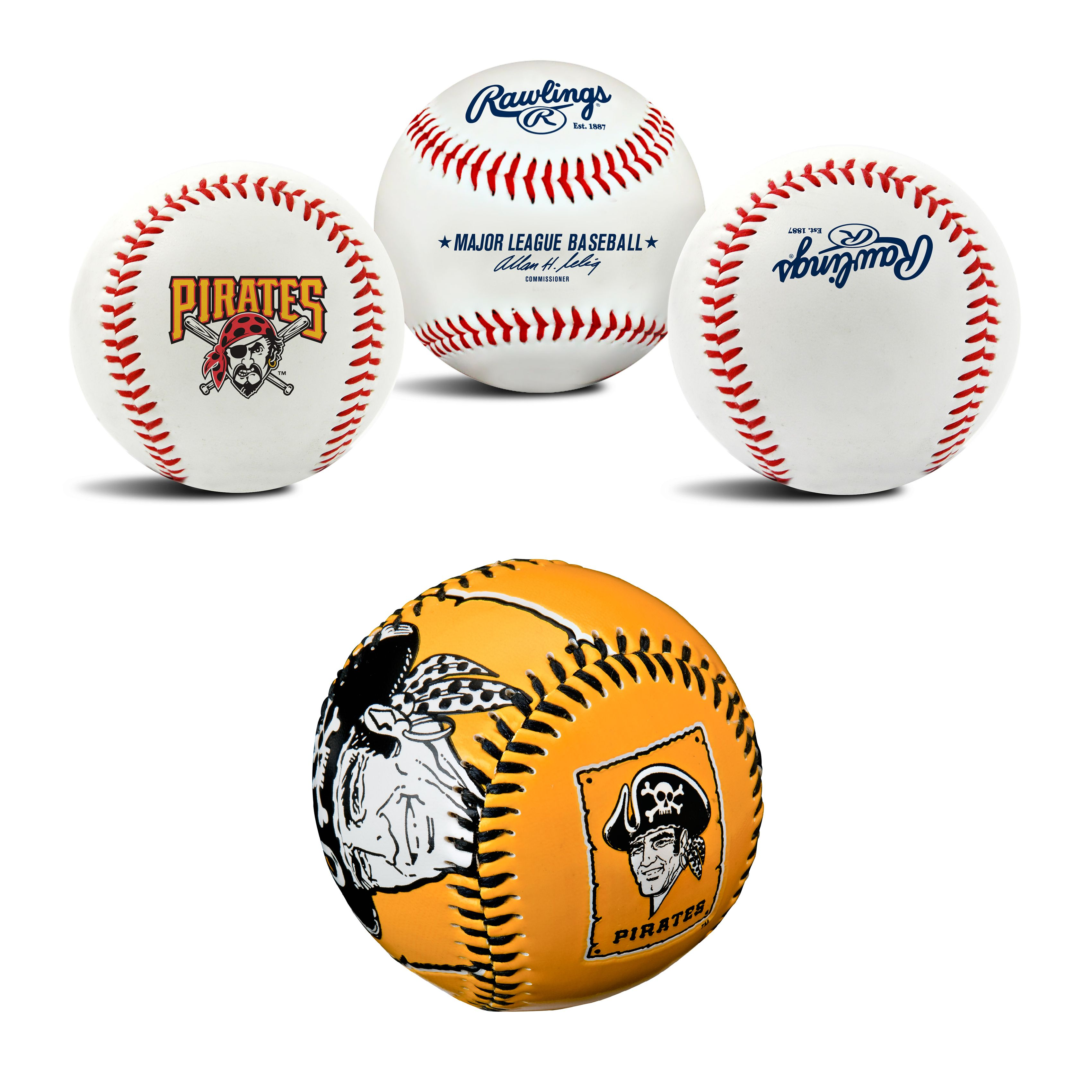 Pittsburgh Pirates MLB Retro and Team Logo Authentic Baseballs Bundle 2 Pack