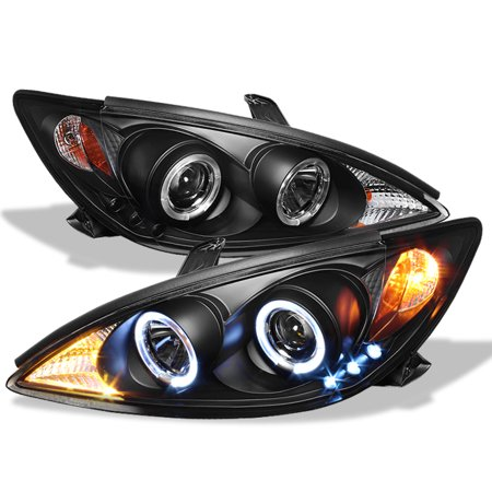 - Fits 2002-2006 Toyota Camry Le Se Dual Halo Projector Black Headlights LH+RH