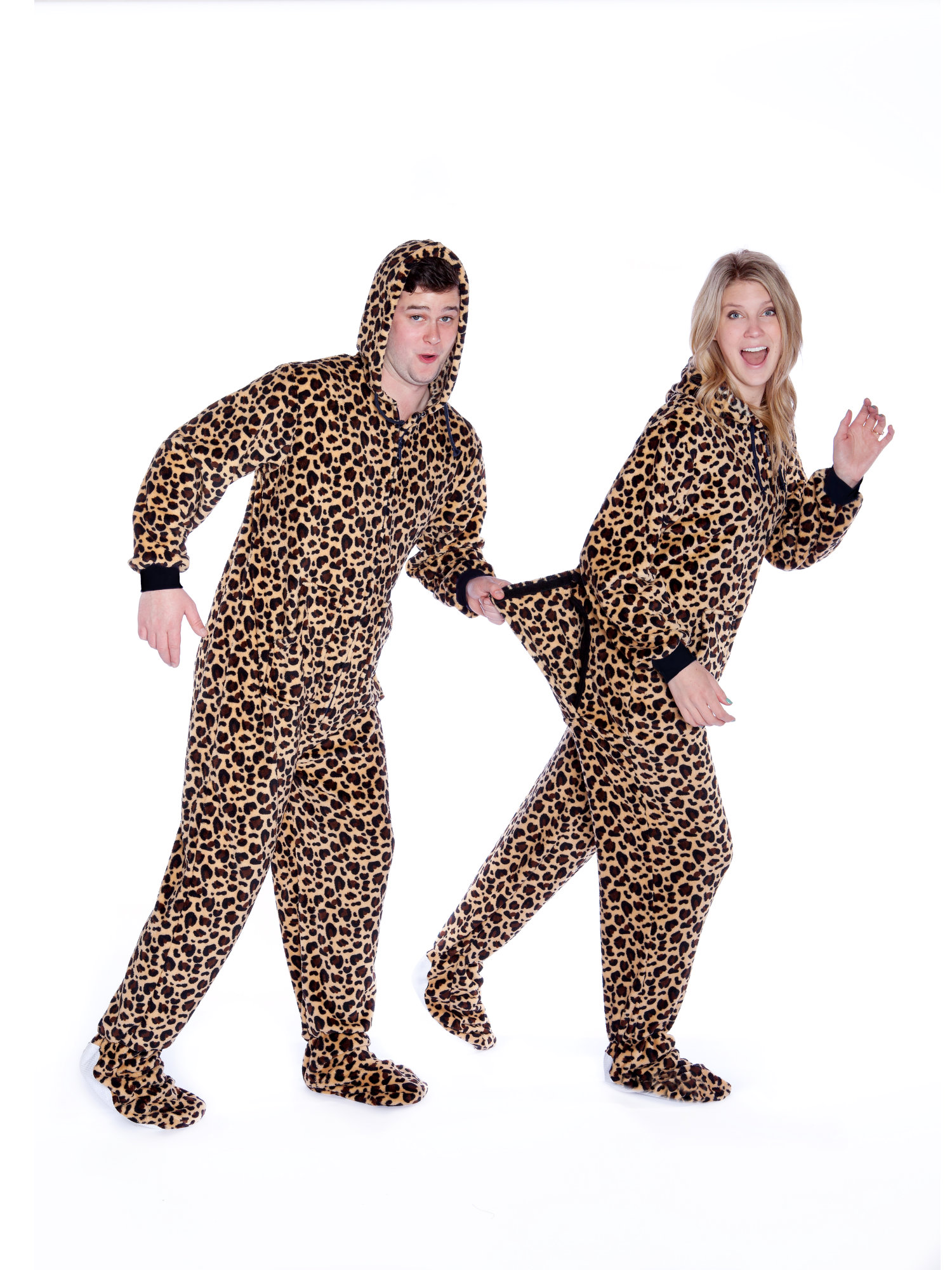 76055460d898 Leopard Print Sleeper Hoodie Plush Footed Pajamas w  Drop Seat ...