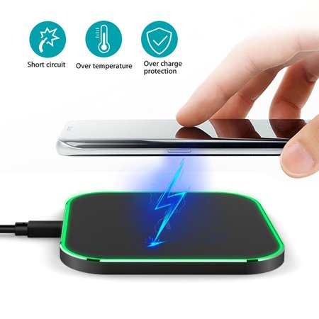 Led Charging Indicator - Wireless Charger with Smart LED Indicator Lights, 10W 7.5W QC3.0 QI Wireless Charging Pad for iPhone XS Max/XR/XS/X/8/8 Plus, Samsung Galaxy S9/S9 Plus/S8/S8 Plus