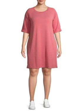 Terra & Sky Women's Plus Size Elbow Sleeve Dress