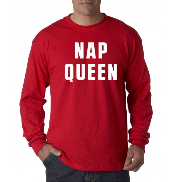 Trendy USA 834 - Unisex Long-Sleeve T-Shirt Nap Queen Funny Humor 4XL Red