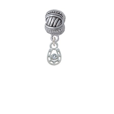 Mini Horseshoe with Clear Crystal - Large Rope with Cross Beads Charm Bead