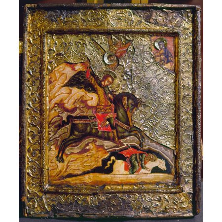 Stretched Canvas Art - Russian Icon: Demetrius. /Nsaint Demetrius ...