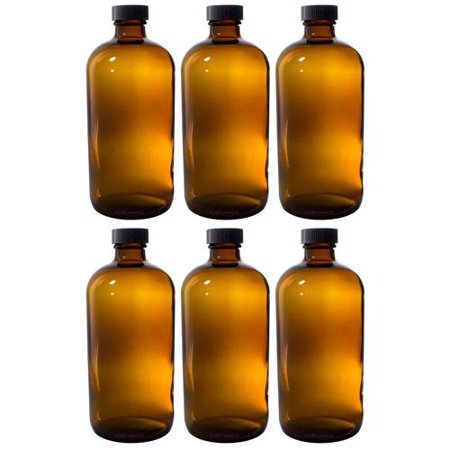 Amber Glass Boston Round Bottle with Black Phenolic Cone Lined Caps - 8 oz (6 (Phenolic Bottle Cap)